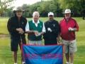 Frank Voris Jim Pearson Steve Hatcher John Gee show their Blackhawk pride