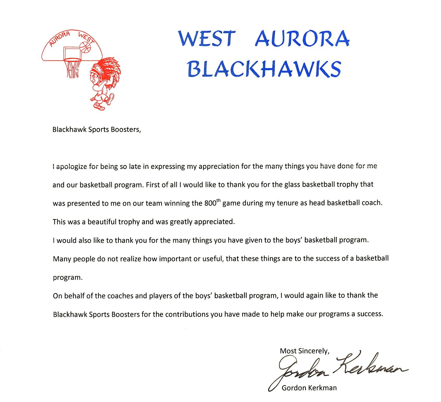 Thank You Coach Kerkman Blackhawk Sports Boosters